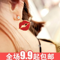 Accessories fashion red lips 2014 Large oil fashion earrings female
