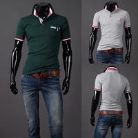 2014 new arrival hot summer casual t-shirt men turn-down collar slim mens t shirts white/navy/green/grey M/L/XL/XXL