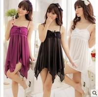 LZ girl Summer dress 2014 women's clothing V-neck sexy faux silk nighties desigual night gown T-back set  lingerie sleep wear