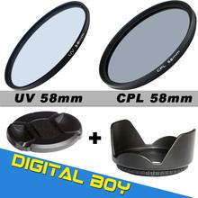 Camera & Photo!Digital boy 58mm UV CPL ( Circular Polarizing ) Filter Kit + Lens hood + Cap For Canon NIKON Sony Olympus Camera