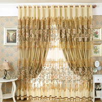 High Quality Cutout Carved Embroidered Yarn/Tulle/Sheer / Gauze Curtain Finished Product Window Curtain Living Room