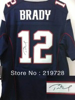 Free Shipping Wholesale&Retail Elite American Football Jerseys #12 Tom Brady Signed Autographed Jersey Embroidery Logos