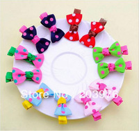 20 pairs=40pcs/lot ~ Free Shipping mix color Sweet Mini Cute Baby Girls Hair Clips Kids Ribbon Hairpins Alligator Bow Clip