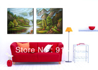 Free shipping 2 Panels Huge Modern Landscape Decorative Combination Picture Print Paint Oil Painting Abstract Art Canvas pt695