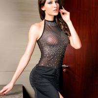 2014 New Lady Black Crystal Decoration Halter Sleeveless Sexy Ruffles Club Party  Prom Long Dresses 6066