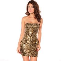 2014 New Lady Strapless Gold Ruffles Sexy Club Party Mini One-Piece Dress 2714