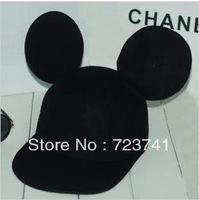 2014 New Brand Fashion 1PCS/Lot 100% Woolen Spring Women Ear hat Mickey Cap Black Hats Fadoras