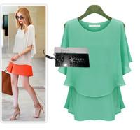 XL-XXXL xxxxl  new in 2014 6xl plus size women tops blouse summer Loose Casual chiffon Blouses roupas femininas 5xl 4xl
