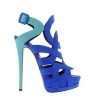 2013gz fashion full genuine leather summer blue women's shoes ultra high heels sandals fashion gz