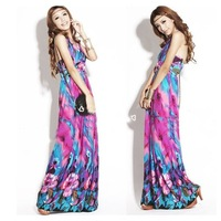 New 2014 Summer Women'S Beach Dress Slim Dress, Bohemian Printing Length Skirt, Sweet Milk Ice Silk Halter Dress JH23