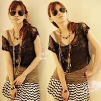 Ladies' T-shirt Delicate eyelash lace shawl Free Shipping W4144
