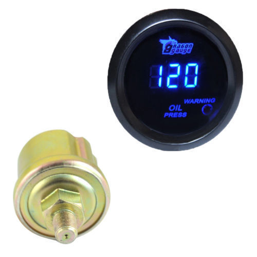 """Pod Black Blue LED 2"""" 52mm Universal Digital Cool 0 120 PSI Oil Pressure Gauge Car Styling Oil Press Meter Auto Free Shipping(China (Mainland))"""