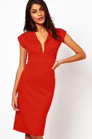 New Fashion Womens Deep V Neck Puff Sleeve Bodycon Business Party Pencil Dress for Women LC6177