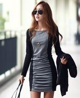 2014 spring new long-sleeved dress stitching bottoming large size women plus size clothing