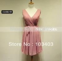 2014 spring simple V-neck cameo brown  bridesmaid dress party dress 040F