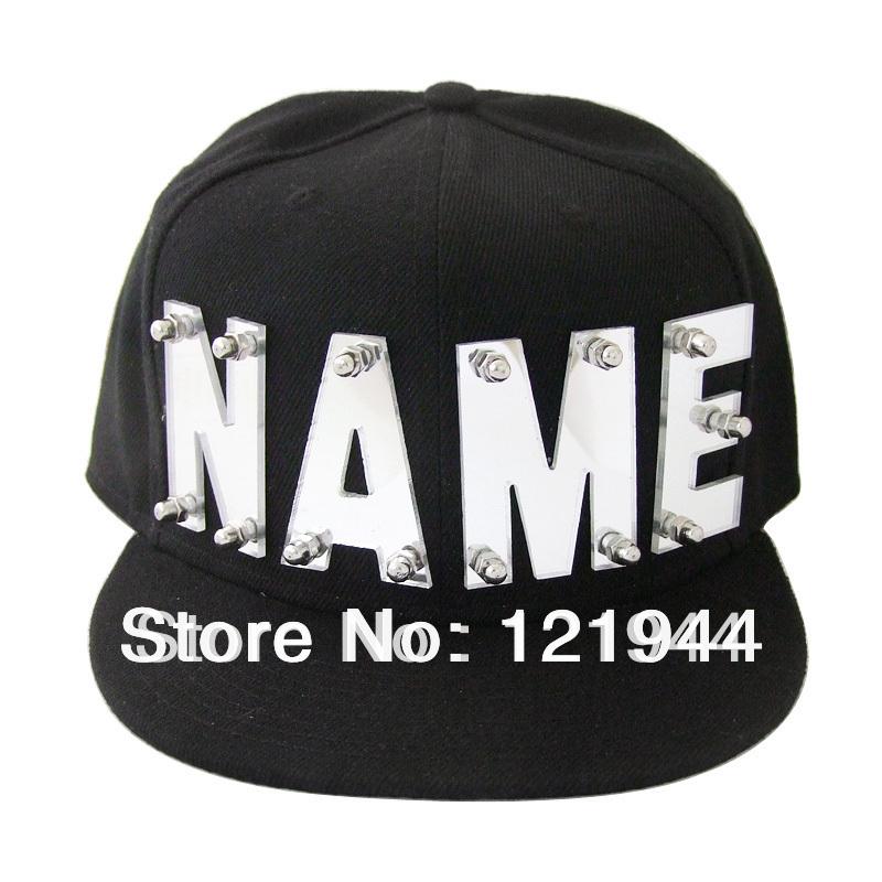 Mirror acrylic letters hat,custom name caps,hip hop snapback,personalized hats baseball cap(China (Mainland))