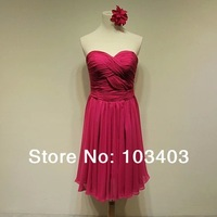 2014 spring charming rose red  short bridesmaid dress party dress 044F