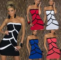 EAST KNITTING N-209 2014 New Sexy Club clothing women fashion tops sleeveless striped bra dress Free Shipping