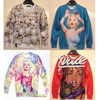 [Alice] 2014 new 3d sweatshirts women high quality sexy lady/pearl printed hoodie fashion thin 3d women hoodies free shipping