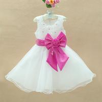 Retail Fashion 2014 Sweet Flower Stain 1PCS 3-8Y Girls Princess Dress With Bow Children Party Dress Girls Wedding TR54