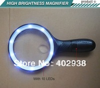 1.8X 5X 10 LED High Brightness Magnifier Big Lens Magnifying Glass Handle Magnifier with LED Illumination NO.6907B