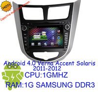 pure android 4.0 Capacitive multi-touch screen CAR DVD video gps PLAYER for  HYUNDAI Verna Accent Solaris 2011-2012 with 3G Wifi