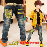 2014 Newest Spring autumn children's jeans wholesale Boys Patchwork jeans trousers boys casual pants B088