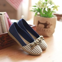 New Fresh Women's Stripe Bowknot ballet flats casual Canvas Slip On Slippers Sandals shoes flats 4 sizes 3 colors 1761