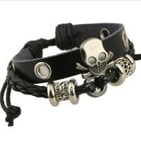 2014 New Fashion Handmade Skull Charm Alloy String Of Beads Men Leather Bracelets Wholesale Free Shipping, AA007