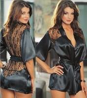 Female Sexy Temptation Women Dress V-neck Bathrobe Rayon Silk Sleepwear Pajamas Nightdress Robes kimono is woman soft lingerie