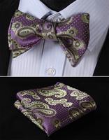 BF4016P Purple Green Paisley Classic 100%Silk Jacquard Woven Men Butterfly BowTie Bow Tie Pocket Square Handkerchief Suit Set