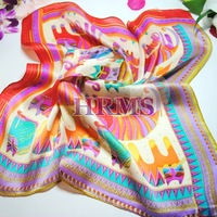 100% pure silk scarf mulberry silk scarf women small facecloth abstract cat  55*55cm