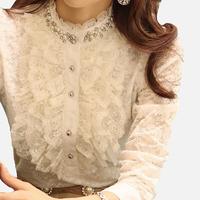 Women Blouses New Kimono Blouse 2014 Spring Plus Size Woman Shirts Slim Collar Pearl Ruffle Lace Long-sleeve Basic Shirt Top