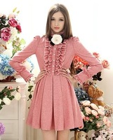 Dress winter flannel one-piece dress royal ruffle slim waist expansion bottom woolen one-piece dress