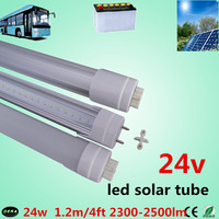 100pcs/lot 24w  t8 24v tube t8 1200mm 24w led tube t8  4ft led solar tube  2300-2500lm led 24v  lamp bus lamp free shiping