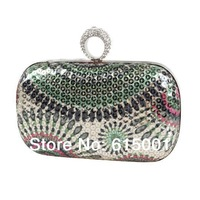 Ladies' Clutch Knuckle Rings evening bag Rhinestone Fingers Rings Clutches Bag With shoulder Chain  Free Shipping