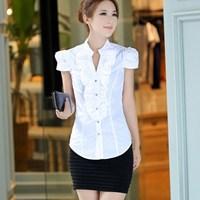 Women Blouses Real Ruffles Short Solid Kimono Blouse 2014 Profession Woman Short-sleeve Shirt Female Plus Size Clothing Top