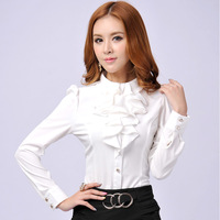 2014 plus size Women's professional shirt long-sleeve ruffle female solid color shirt plus size slim sweet all-match top