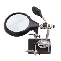 110-220V Input Auxiliary Clamp Alligator Clip Stand Magnifier With 5 LED+Adapter 83800