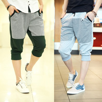 Houndstooth men's patchwork cotton wei pants sports casual knee length trousers yj1030f38  1403