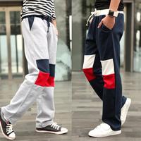 New men harem sport pants color block patchwork sweatpant bodybuilding skinny trousers male soccer running outdoor slim fit pant