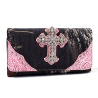 Mossy Oak Camouflage Fold Wallet With Rhinestone Cross Studs Floral  High Quality Women Checkbook Wallets with Studs Girls Purse