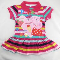 Retail!! peppa pig baby flower girl dress New 2014 summer fashion Casual girls dress peppa pig clothing kids dress