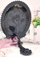 foldable portable pocket plastic mirror vintage flower rose oval Compact hand Cosmetic Make Up whcn+