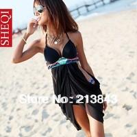 Set 2Pcs in One High Quality New Tuxedo Style PushUp Bikini Set Beach Cover Up Dress Swimsuit Padded Free Shipping