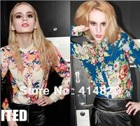 Free shipping 2014 trendy cozy women blouse shirts Fashion Personalized printing color long-sleeved Chiffon shirt for women