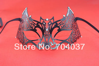 (1 pc/lot) New Style Handmade Half-face Black Color Metal with Rhinestones Elegant Masquerade Party Masks