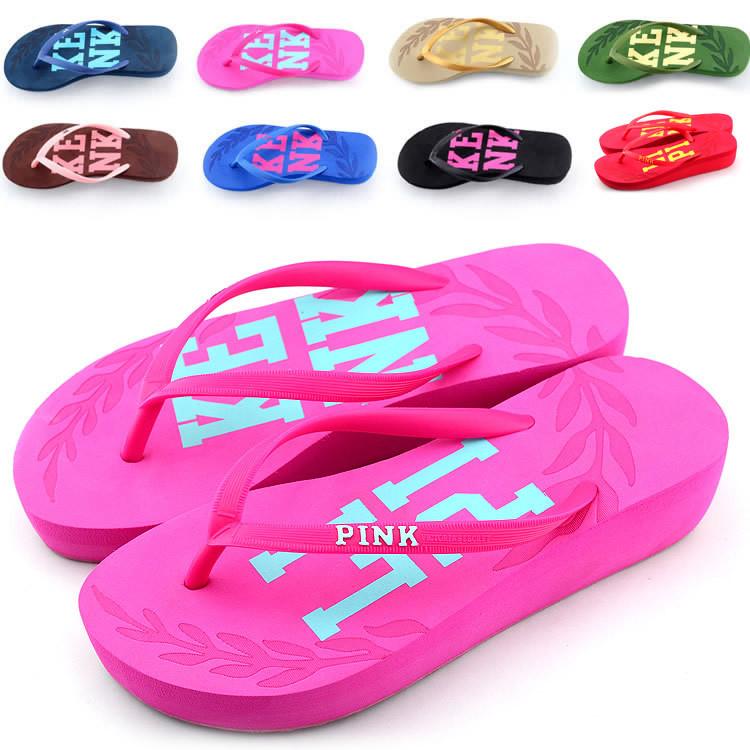 2014 new Summer women's Leisure Beach Flats Sandals Ladies colors Flip Flops High Heels Slippers Female EVA Platform Sandals(China (Mainland))