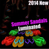 2014 new Summer men's Leisure Beach Flats Luminous Sandals Ladies colors Flip Flops Slippers HM Female EVA Platform Sandals