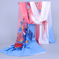 New fashion women chiffon printed magpies scarves silk scarf ladies shawls best sale 160*50cm 10pcs/lot Free post ship xq016